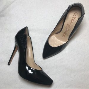 """Shoes - Black Patent Leather Pumps 5"""" Heels Platform 7.5"""